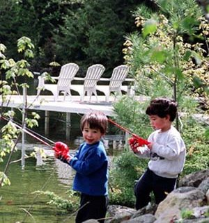 Kids fish on the Lake